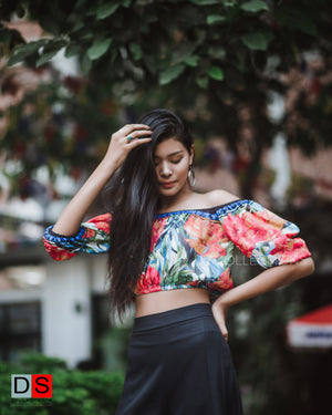 Women's Top - Cropped Printed Off-Shoulder Top | DS Collections Nepal