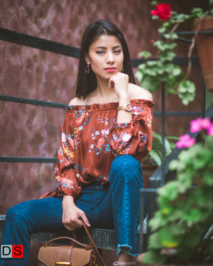 DS Collection Women Floral Off Shoulder Top Nepal