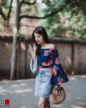Women's Top -  Floral Off-Shoulder Crop Top | DS Collections Nepal
