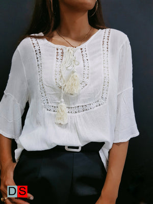 Rayon Flower Lace Top