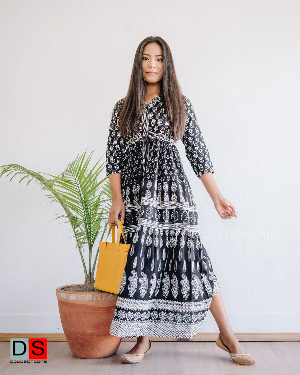 Block Print Cotton Maxi Dress