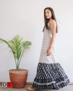 Sleeveless Hand Block Print Flare Maxi Dress