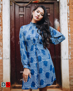 Dabu Print Mock Neck Indigo Dress