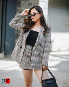 Woolen Plaid Coat Skirt Set