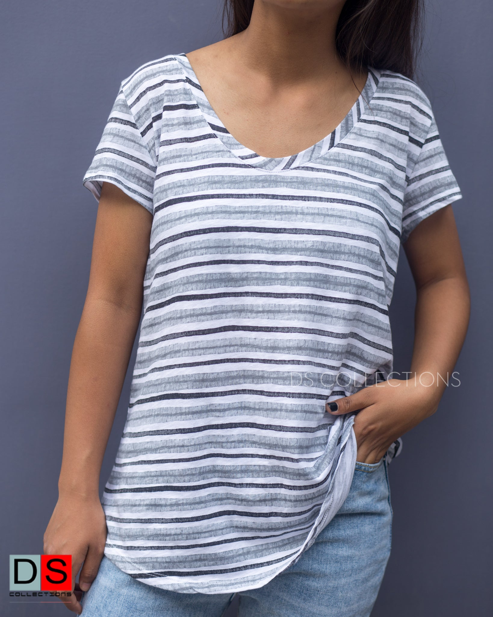 Women's Top - Stripped Basic Top | DS Collections Nepal