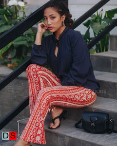 Printed Bell Button Pant