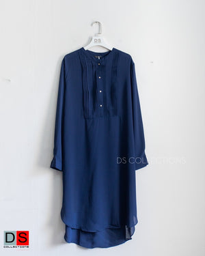 Half Button Down Pleated Long Top