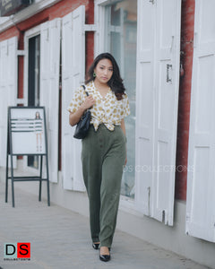 Elastic Waist Button Up Pant