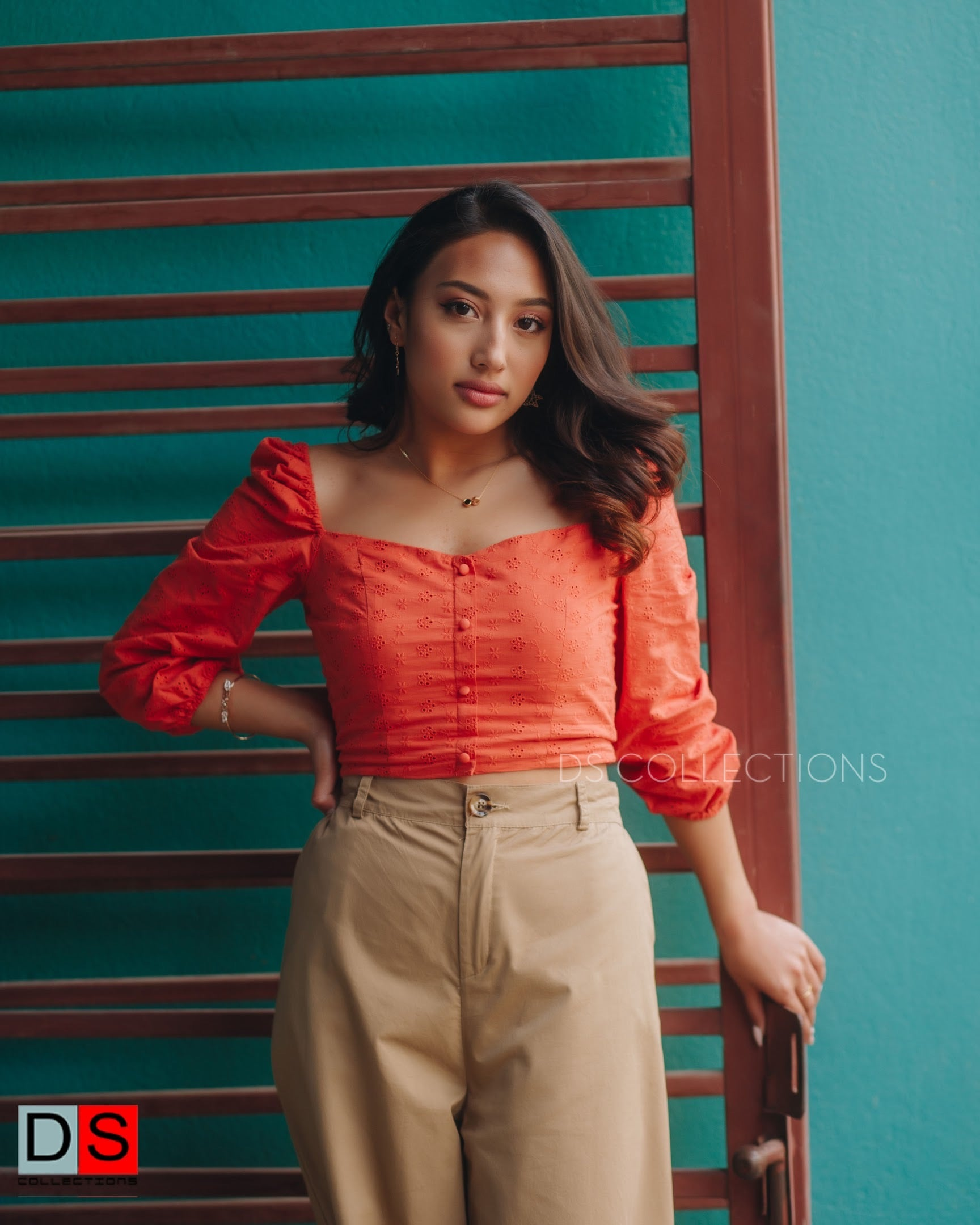 Eyelet Puffy Sleeve With Corset Button Down Crop Top