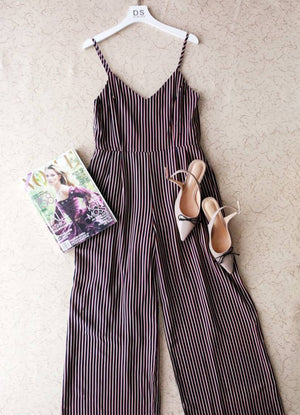 Women's Jumpsuit - Spaghetti Strap Stripped Jumpsuit | DS Collections Nepal