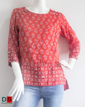 Women's Top - Ajrak Printed Top  | DS Collections Nepal