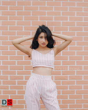 Stripe Crop Top And Pant Set