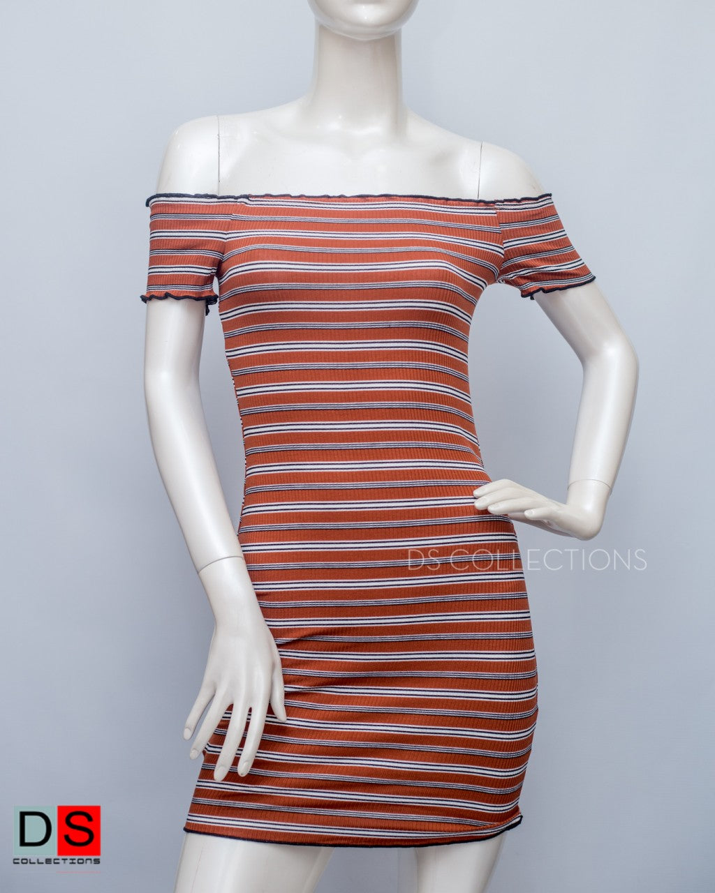 Women's Dress - Off - Shoulder Stripe Dress | DS Collections Nepal