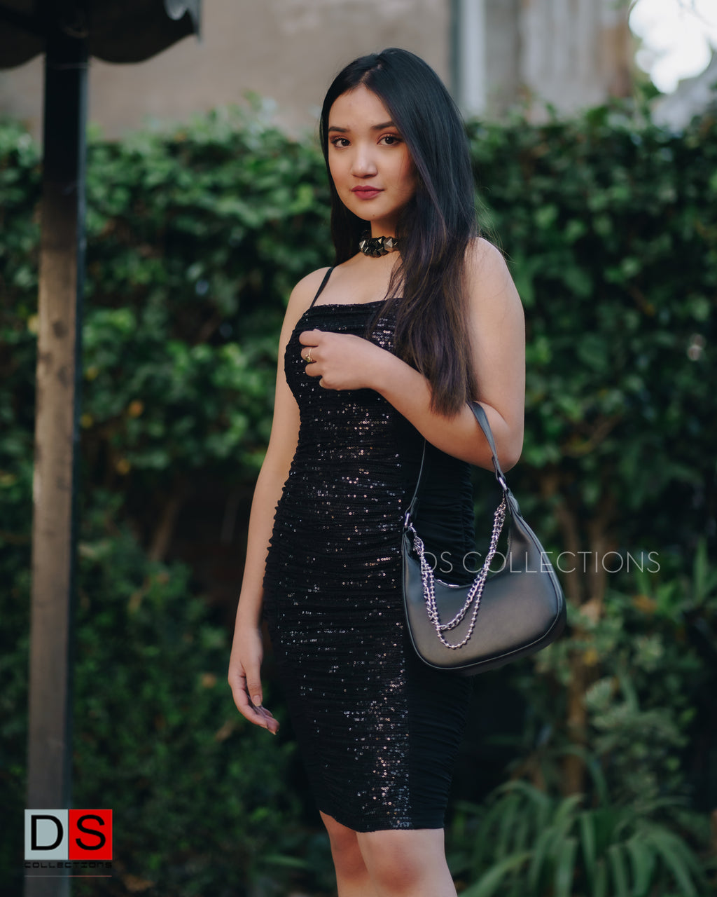String Bodycon Sequin Ruched Dress