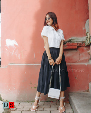 Pleated Plain Skirt