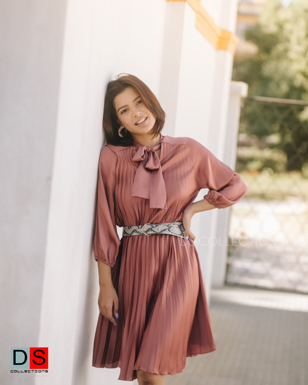 Tie-Neck Pleated Dress With Belt