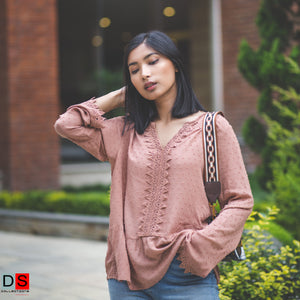 DS Collection Women Crochet Cotton Full Sleeved Top Nepal