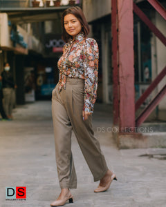 High Waisted Wide Leg Formal Pant