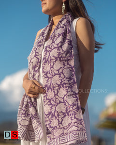 Cotton Hand Block Printed Shawl With Mehendi Print