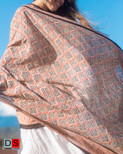 Cotton Hand Block Printed Shawl With Diamond Print