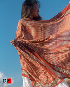 Cotton Hand Block Printed Shawl With Zigzag Print
