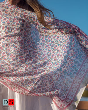 Cotton Hand Block Printed Shawl With Floral Print
