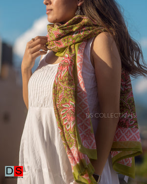Cotton Hand Block Printed Shawl With Lotus Print