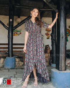 V-Neck Button Down High Low Maxi Dress