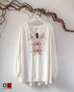 Plus Size Ethnic Geo Embroidered Top