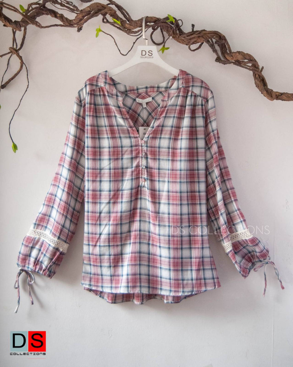 Plus Size Half Button Down Checkered Shirt