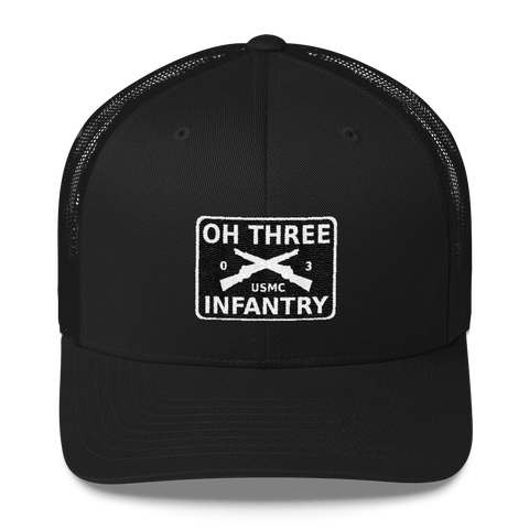 Black trucker hat with Oh Three Infantry logo on front with crossed rifles