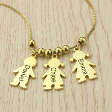 Engraved Name 3 Children Charms Necklace