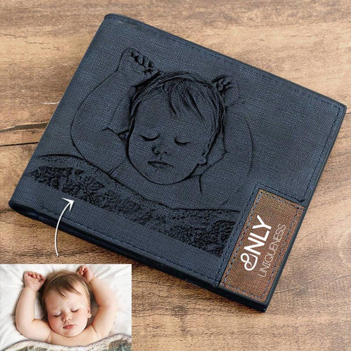 Engraved Photo Bifold Wallet - Blue