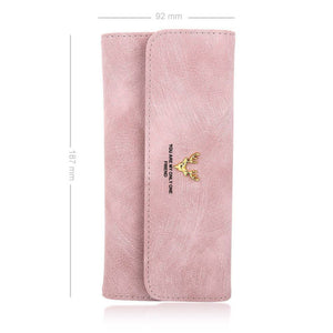 Long Style Engraved Photo Trifold Wallet - Pink