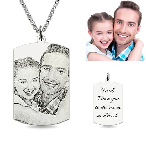 Photo Necklace Sterling Silver Rectangle - Sketch
