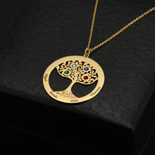 Circle Family Tree With Birthstone Necklace