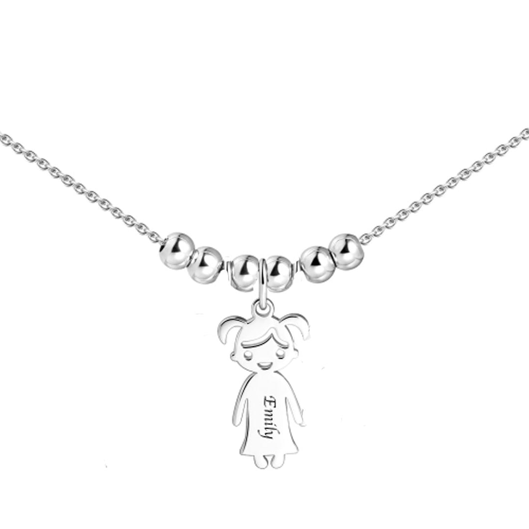 Sterling Silver Necklace with 1 Child Charm