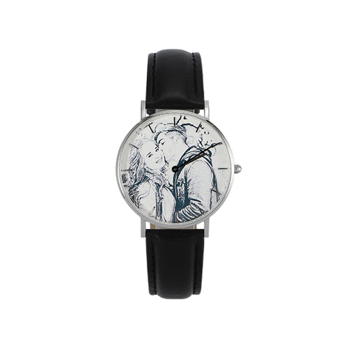 Black Leather Band Engraved Photo Watch