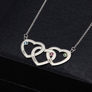Three Heart Three Names With Birthstone Necklace