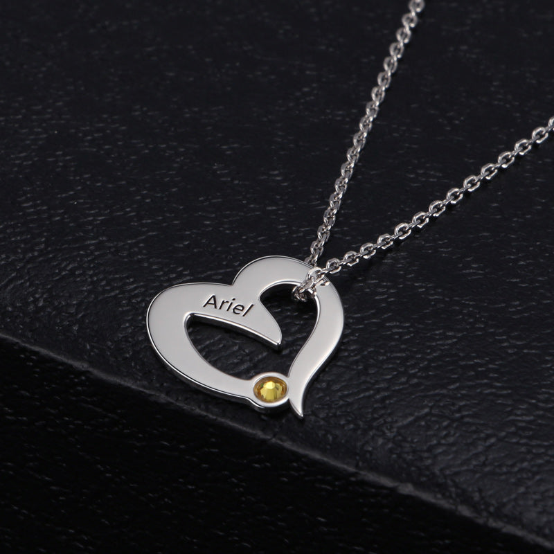 Heart Shape With Birthstone Necklace