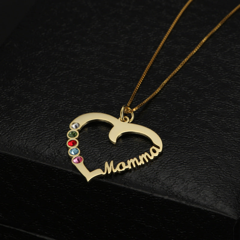Mamma Heart With Birthstone Necklace