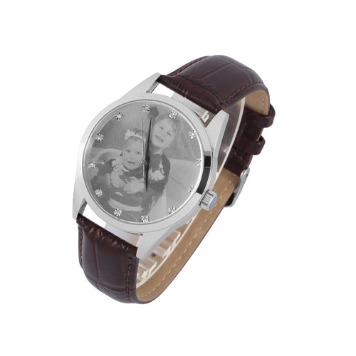 Brown Leather Band Photo Watch