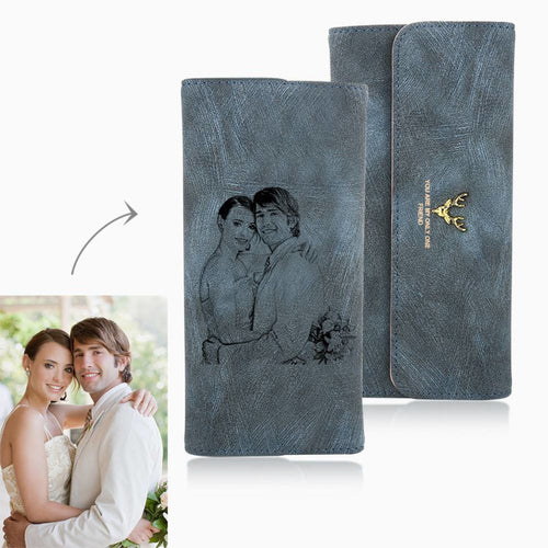 Long Style Engraved Photo Trifold Wallet - Blue