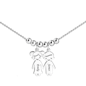 Sterling Silver Necklace with 5 Children Charms