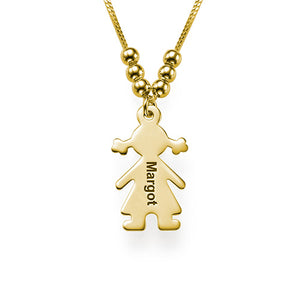 Sterling Silver Engraved Name 1 Child Charms Necklace