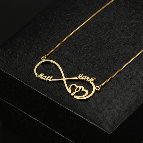 Two Name With Double Hearts Infinity Necklace
