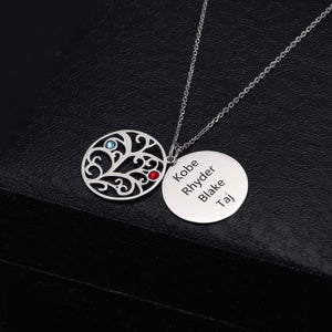 Circle Family Tree And Disc With Birthstone Necklace