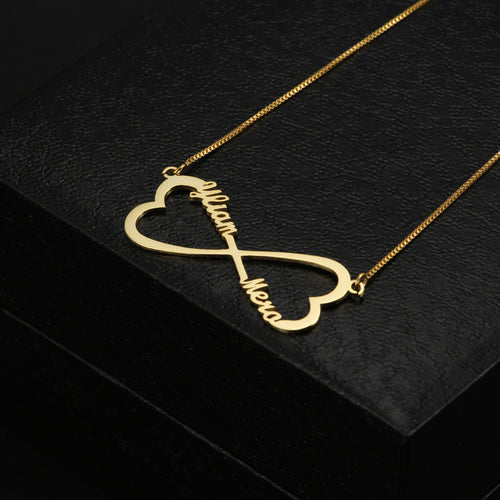 Double Heart Shape Infinity Necklace