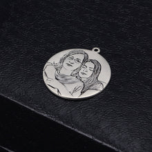 Round Laser Engraved Personalized Photo Necklace