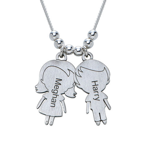 Sterling Silver Necklace with lovely Children 2 Charms